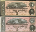 Confederate Notes:1864 Issues, T69 $5 1864 PF-10 Cr. 564 Two Examples About Uncirculated.. ... (Total: 2 notes)