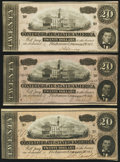 Confederate Notes:1864 Issues, T67 $20 1864 PF-3; -11; -19 Cr. 505; 511; 519 About Uncirculated or Better.. ... (Total: 3 notes)
