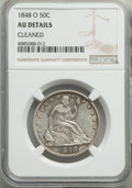 Seated Half Dollars, 1848-O 50C -- Cleaned -- NGC Details. AU. NGC Census: (7/61). PCGS Population: (24/79). CDN: $400 Whsle. Bid for problem-fr...