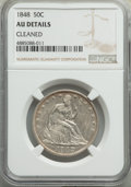 Seated Half Dollars, 1848 50C -- Cleaned -- NGC Details. AU. NGC Census: (2/56). PCGS Population: (12/85). CDN: $550 Whsle. Bid for problem-free...