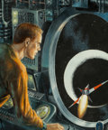 Paintings, Edmund (Emsh) Emshwiller(American, 1925-1990). Unveiling the Mystery Planet, Galaxy Science Fiction cover, September 195...