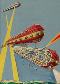 Frank R. Paul (American, 1884-1963) The Ark of the Covenant, Air Wonder Stories cover, August 1929 Watercolor on board...