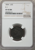 1834 1/2 C C-1, B-1, R.1, XF45 NGC. NGC Census: (49/552). PCGS Population: (2/14). XF45. Mintage 141,000. From The Po...