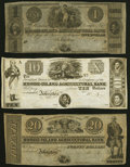 Obsoletes By State:Rhode Island, Johnston, RI- Rhode Island Agricultural Bank $1; $10; $20 18__ Remainders Crisp Uncirculated; About Uncirculated (2).. ... (Total: 3 notes)