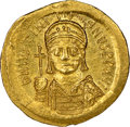 Ancients:Byzantine, Ancients: Justinian I the Great (AD 527-565). AV solidus (20mm, 4.47 gm, 6h). NGC MS 5/5 - 4/5, clipped....
