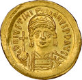 Ancients:Byzantine, Ancients: Justinian I the Great (AD 527-565). AV solidus (20mm, 4.45 gm, 6h). NGC MS 5/5 - 4/5....