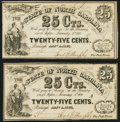 Obsoletes By State:North Carolina, Raleigh, NC- State of North Carolina 25¢ Jan. 1, 1863 Cr. 139 Two Examples Crisp Uncirculated.. ... (Total: 2 notes)