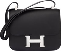 Hermès Special Order Horseshoe 24cm Black & Etain Swift Leather Constance Bag with Palladium Hardware C...