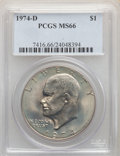 Eisenhower Dollars, 1974-D $1 MS66 PCGS. PCGS Population: (586/28). NGC Census: (691/11). CDN: $75 Whsle. Bid for problem-free NGC/PCGS MS66. M...