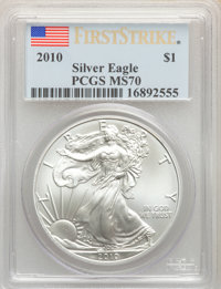 (5)2010 $1 Silver Eagle, First Strike MS70 PCGS. PCGS Population: (25825). NGC Census: (44158)