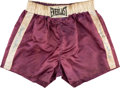 Boxing Collectibles:Memorabilia, Circa 1970 Floyd Patterson Worn & Signed Trunks....