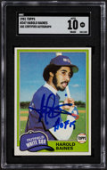 "Autographs:Sports Cards, Signed 1981 Topps Harold Baines #347 SGC Authentic, 10 Autograph - ""HOF 19"" Inscription...."