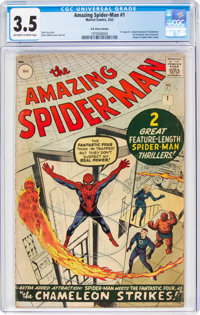 The Amazing Spider-Man #1 UK Edition (Marvel, 1963) CGC VG- 3.5 Off-white to white pages