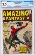 Silver Age (1956-1969):Superhero, Amazing Fantasy #15 UK Edition (Marvel, 1962) CGC GD+ 2.5 Off-white to white pages....