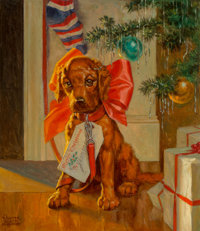 Walter Beach Humphrey (American, 1892-1966) The Christmas Puppy Oil on canvas 15 x 13 in. Sign