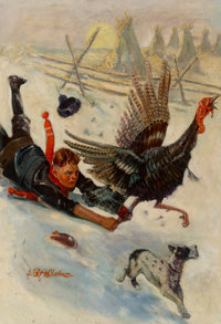 Benton Henderson Clark (American, 1895-1964) Christmas Turkey, probable magazine cover Oil on canvas