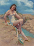 Fine Art - Work on Paper, American Artist (20th Century). Bathing Beauty. Pastel on board. 39 x 28-1/2 inches (99.1 x 72.4 cm) (sight). Not signed...
