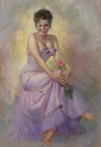 Zoe Mozert (American, 1907-1993) Pink Rose Pastel on board 36 x 24-1/2 inches (91.4 x 62.2 cm) (s