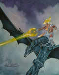 Fine Art - Painting, American, John Zeleznik (American, 20th Century). Dragons & Gods sourcebook cover, 1996. Acrylic on board. 17-1/2 x 13-3/4 inches ...