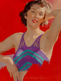 Fine Art - Painting, American, Charles Edward Chambers (American, 1883-1941). Brunette Beauty, unpublished Redbook cover. Oil on canvas. 24 x 18 inches...