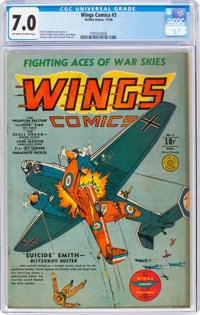 Wings Comics #3 (Fiction House, 1940) CGC FN/VF 7.0 Off-white to white pages