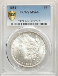 1881 $1 MS66 PCGS. PCGS Population: (226/5). NGC Census: (53/2). CDN: $1,400 Whsle. Bid for problem-free NGC/PCGS MS66...
