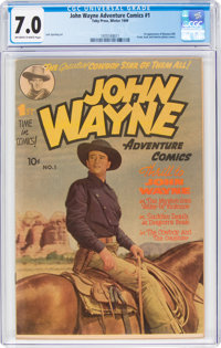 John Wayne Adventure Comics #1 (Toby Publishing, 1949) CGC FN/VF 7.0 Off-white to white pages