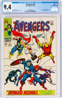 The Avengers #58 (Marvel, 1968) CGC NM 9.4 White pages