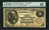 Key West, FL - $5 1882 Brown Back Fr. 472 The First National Bank Ch. # 4672 PMG Choice Extremely Fine