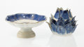 Ceramics & Porcelain, A Chinese Porcelain Artichoke Box and Lotus-Form Compote. 4 x 4-3/4 x 4-3/4 inches (10.2 x 12.1 x 12.1 cm) (box). 2-1/2 x 6 ... (Total: 2 Items)