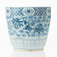 A Chinese Blue and White Porcelain Planter 11-1/8 x 11-5/8 x 11-5/8 inches (28.3 x 29.5 x 29.5 cm)