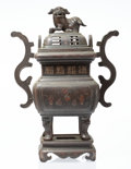Metalwork, A Chinese Bronze Covered Censer. Marks: Incised two-character mark to underside. 20 x 15 x 7-1/2 inches (50.8 x 38.1 x 19.1 ...