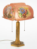 American, A Pairpoint Gilt Brass and Reverse-Painted Puffy Glass Table Lamp, circa 1920. Marks: The Pairpoint Corp., PAIRPOINT MF'G ...