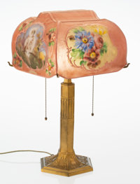 A Pairpoint Gilt Brass and Reverse-Painted Puffy Glass Table Lamp, circa 1920 Marks: The Pairpoint Corp., PAIRP