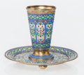 Silver & Vertu, A Russian Cloisonné Enameled and Gilt Silver Cup and Saucer, Moscow, mid-late 19th century . Marks: (double headed eagle), ... (Total: 2 Items)