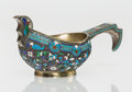 Ceramics & Porcelain, British, A Russian Cloisonné Enameled Silver Kovsh, Odessa, Russia, late 19th-early 20th century. Marks: (cyrillic), (city mark, 84)...