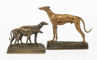 After Alfred Dubucand (French, 1828-1894) Greyhounds (two works) Bronze 6-1/8 x 8-1/2 x 2 inches