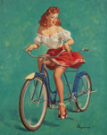 Fine Art - Painting, American, Gil Elvgren (American, 1914-1980). The Bicycle Built for Woo, 1947. Oil on canvas. 30-1/4 x 24 inches (76.8 x 61.0 cm). ...