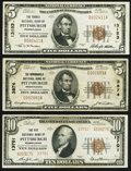 National Bank Notes:Pennsylvania, Pittsburgh, PA - $5 1929 Ty. 1 The Monongahela National Bank Ch. # 3874 Fine-Very Fine; $5 1929 Ty. 1 The Forbes N... (Total: 3 notes)