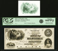 Milwaukee, WI - Bank of Milwaukee (2nd) $5 Jan. 2, 1855 G6 Proof PCGS Gem New 66PPQ. ... (Total: 2)