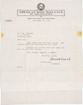 Baseball Collectibles:Others, 1949 Connie Mack Signed Letter. ...