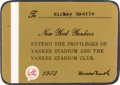 Baseball Collectibles:Others, 1973 Mickey Mantle New York Yankees Season Pass. ...