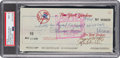 Baseball Collectibles:Others, 1978 Thurman Munson Signed New York Yankees Bonus Check, Twice Signed PSA/DNA Mint 9. ...