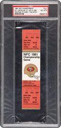 Football Collectibles:Tickets, 1981 NFC Championship Game Full Ticket, PSA NM-MT 8....