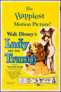"""Movie Posters:Animation, Lady and the Tramp (Buena Vista, R-1962). Rolled, Fine/Very Fine. Poster (40"""" X 60""""). Animation.. ..."""