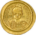 Ancients:Byzantine, Ancients: Justinian I the Great (AD 527-565). AV solidus (21mm, 4.50 gm, 6h). NGC MS 5/5 - 4/5....