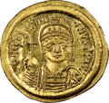 Ancients:Byzantine, Ancients: Justinian I the Great (AD 527-565). AV solidus (22mm, 4.42 gm, 5h). NGC MS 4/5 - 3/5, graffito, die shift....