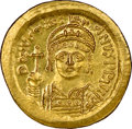 Ancients:Byzantine, Ancients: Justinian I the Great (AD 527-565). AV solidus (21mm, 4.49 gm, 7h). NGC MS 5/5 - 4/5....