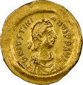 Ancients:Byzantine, Ancients: Justinian I the Great (AD 527-565). AV tremissis (17mm, 7h). NGC AU, brushed....