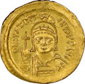 Ancients:Byzantine, Ancients: Justinian I the Great (AD 527-565). AV solidus (21mm, 4.36 gm, 7h). NGC MS 4/5 - 4/5, clipped....